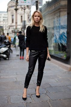Elin Kling - all black....on the streets of Paris during Paris Fashion Week.