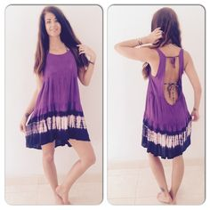 The gorgeous low back tie dye flow dress New for 2016. Cuz every girl needs a go to tie dye dress. Handmade in Bali from the softest rayon cotton, gorgeous purple color tie dye flow dress with tie back design fits small-xl comfortably. Happy shopping! Handmade Dresses