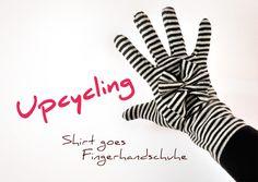 Schau mal, wie schnell aus einem alten, geliebten Shirt Fingerhandschuhe werden! Ist das nicht eine herrlich nachhaltige Geschenkidee? :)