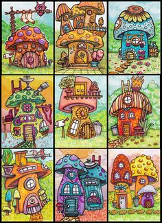 Big Feet's House, The One with the Walkup, Sunflower House. Hippie Painting, Trippy Painting, Painting & Drawing, Mushroom Drawing, Mushroom Art, Happy Paintings, Owl Paintings, Cottage Art, Cute Drawings