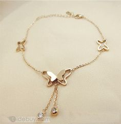 Shop Elegant Butterfly Bracelet/Ankle Chain on sale at Tidestore with trendy design and good price. Come and find more fashion Bracelet here. Ankle Jewelry, Gold Rings Jewelry, Hand Jewelry, Antique Jewelry, Jewelry Bracelets, Ankle Bracelets, Jewelry Design Earrings, Pendant Jewelry, Jewelry Accessories
