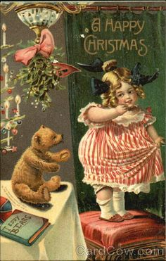 Girl with Teddy Bear Mistletoe