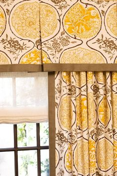 Drapes and Box Pleated Valance, banded, in Schumacher Katsugi