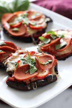 Throw a healthy pizza night at home with these portobello mushroom pizzas made up on the grill for an extra delicious smoky flavor.