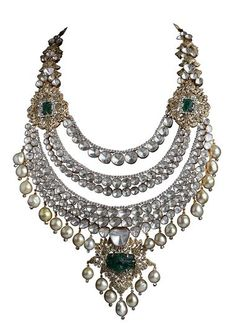 Jaipur jeweller Birdhichand ~ Pearl, Polki, Emerald and Diamond-Studded Necklace from the Amér Collection