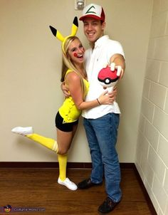 DIY Couples Halloween Costume Ideas - Ash and Pikachu - Pokemon Theme SUPER CUTE Costume Idea via Costume Works