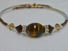 Brown Tiger's Eye Bracelet with Swarovski by PiecesofPretty, $10.00