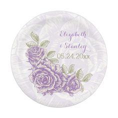 Vintage purple roses floral wedding paper plate