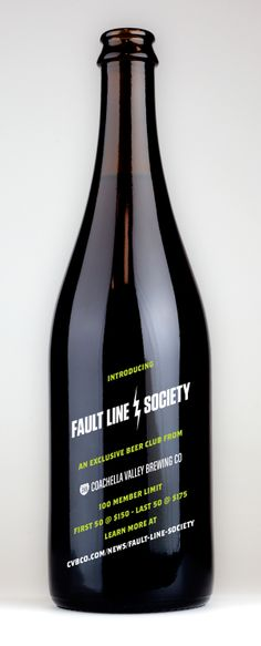Fault Line Society beer club invitation on a beer bottle.