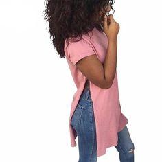 2017 Fashion Side Splits Hem ladies Shirt Short Sleeve Loose Tops Casaul T  shirt Women Summer Solid 3c7060384c64
