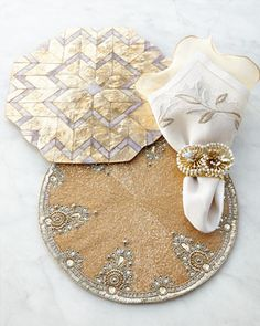 Gold & Gray Placemats & Napkins by Kim Seybert at Neiman Marcus.