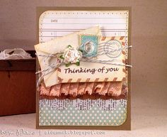 so pretty! Thinking of You Postage Theme Handmade Greeting by paperlovesglue, $4.00