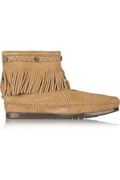 MINNETONKA - Embellished fringed suede ankle boots
