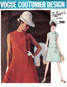 60s Drop Waist Coat Dress FABIANI Vintage Vogue Couturier Design Pattern 2145 Size 12 Bust 34 inches
