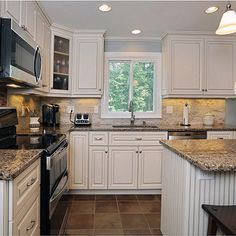 Kitchen white cabinets & black appliances Design Ideas, Pictures, Remodel and Decor, this would go with existing counter tops Backsplash For White Cabinets, Home Kitchens, Kitchen Cabinets With Black Appliances, Kitchen Remodel, Kitchen Design, Kitchen Inspirations, Kitchen Decor, Kitchen Redo, White Cabinets Black Appliances