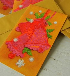 Vintage Christmas Cards Sewing Motifs Lace Yarn by PeppermintBark, $14.50