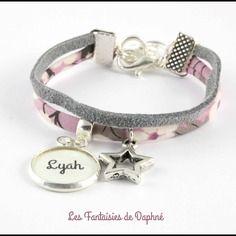 6/7 ans bracelet enfant tissu liberty suédine prénom personnalisable ...