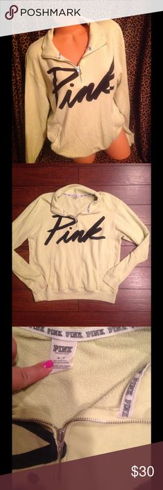 Victoria Secret Oversized Half Zip Sweatshirt M! Victoria Secret oversized half zip sweatshirt size medium can fit large also it's neon green color it does have some minor spots on the backside as shown in last picture faded used condition!!! PINK Victoria's Secret Tops Sweatshirts & Hoodies