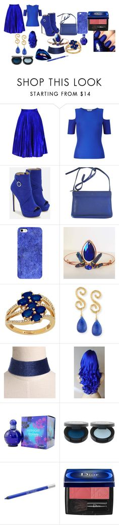 """""""The Sapphire Queen Outfit"""" by theghostkingsqueen ❤ liked on Polyvore featuring Miss Selfridge, JustFab, CÉLINE, Lord & Taylor, Splendid, Britney Spears, China Glaze, Urban Decay and Christian Dior"""