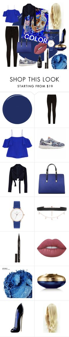 """blue"" by xliciousfull ❤ liked on Polyvore featuring RGB Cosmetics, rag & bone, Fendi, NIKE, TIBI, Diane Kordas, Smith & Cult, Lime Crime, Urban Decay and Guerlain"