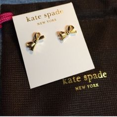 NWTKate Spade 14K Gold Bow Earrings So cute fun and classy these are a must have. They are post back and perfect for all occasions! kate spade Jewelry Earrings