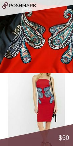 FINAL NWT VALENTINE  Express Red Strapless Dress 8 FINAL BRAND NEW WITH TAGS * GET IN TIME FOR VALENTINE'S  Express gorgeous red (2nd pic most accurate color) dress with paisley dress .Strapless design with stretch!  SOLD OUT ! Size 8 Gorgeous Colors! THIS IS THE ONLY ONE!🌹 Express Dresses