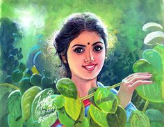 20 Beautiful Tamilnadu Paintings by famous artist Maruthi - Indian Paintings Indian Women Painting, Indian Art Paintings, Art Pictures, Art Images, Photos, Indian Traditional Paintings, Watercolor Paintings Nature, Popular Paintings, Picture Composition