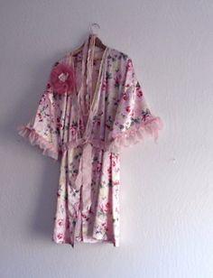 French Fantasy  Bohemian Satin Robe/ Eco Fashion by KheGreen