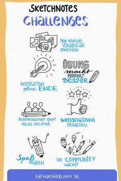 So eine Sketchnotes Challenge hilft dir deine visuellen Vokabeln zu üben. #sketchnotes #sketchnoteschallenge #adoodleaday #doodle #doodlechallenge