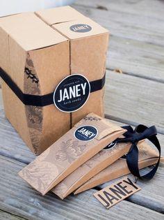 Pastille autocollante et boîte cadeau (kraft)