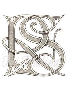 R S Digital Stencil, RS Monogram, R S Logo or Letters, Initials Clipart, Antique Lettering, SVG Instant Download