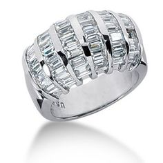 14K Straight Baguette Diamond Anniversary Ring (3.78ctw.) Best Diamond Rings, Diamond Anniversary Rings, Quality Diamonds, Baguette Diamond, Colored Diamonds, Diamond Jewelry, Jewelry Collection, Diamond Cuts, 18k Gold