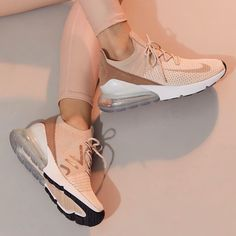 Nike Air Max 270 Flyknit in Guava Ice/particle Beige-desert Dust Nike Air Max, Nike Air Shoes, Nike Shoes Women Flyknit, Cute Nike Shoes, Nike Tennis Shoes, Nike Socks, Aesthetic Shoes, Cute Sneakers, Women's Sneakers