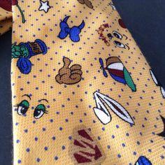 Moschino Designer Tie WOW Pop Cartoon Characters Ink Splotch Yellow 100% Silk