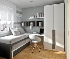 Teens Room : Grey Wall White Bed Sheet Laminated Wooden Floor White Stylish Iron Study Chair Large White Wardrobe Glass Window Box Black Wooden Bookshelves Modern Teen Bedroom Design Ideas