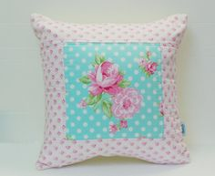 Made To Order_Patchwork Pillow Cover, Shabby Chic Pillow Cover, Quilted Cushion Cover, Quilted Pillow, Fits 16 inch insert_ 16 x 16
