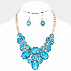 Turquoise Blue Oval Crystal Rhinestone Bib Necklace Set