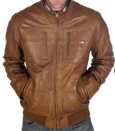 8dc905fa732 New Genuine Leather Biker Bomber Jacket for Man Made Soft Lambskin Leather  ECL