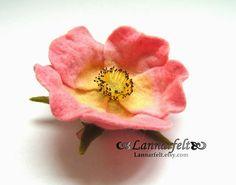 Felted Rose Flower Brooch or Felt Hair Clip   Pink  by lannarfelt