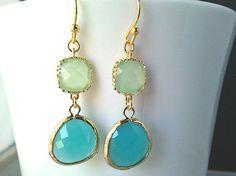 Mint Blue Gold Drop Earrings - Dangle Earrings,Gemstone, bridesmaid gifts,Wedding Earrings,mothers day gift