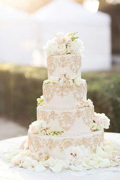 Gold scrollwork wedding cake #rebeccaingramcontest #fijiairways #yasawaislandresort