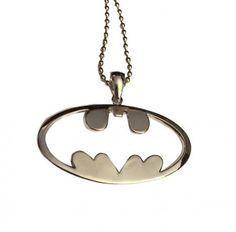 Batman Cutout Metal Shield Logo Pendant Pewterball Chain Necklace DC Comics NWT