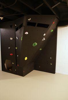 basement makeover with climbing wall fort. #unfinishedbasement #climbingwall