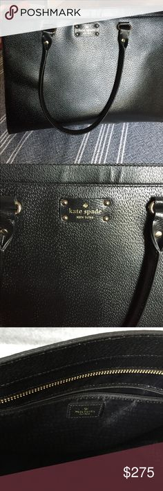 Large Kate Spade bag, black leather, structured. This is a beautiful bag, in perfect condition. It is large, almost briefcase size, with a structured look. The leather outer is a hard case, it can stand on its own. It has 2 large interior sections, perfect for a laptop or tablet and books/notebooks. It also has one small interior pocket. It is black with gold findings. Originally 520.00. kate spade Bags Totes