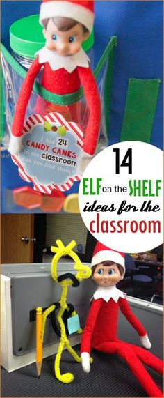 Elf on the Shelf Ideas for the Classroom. Hilarious elf on the shelf ideas. Pose your elf with characters from a book. Scholarly elf poses for little ones in grade school.