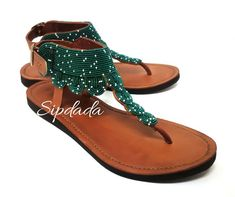 59ddf0eb5e3a Beautiful dotted beaded leather sandals. Made using soft quality leather  and perfected with impeccable beadwork