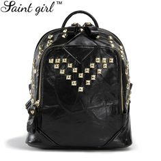 (31.28$)  Watch here - http://aiu0u.worlditems.win/all/product.php?id=32472505850 - Saint Girl Cool PU Leather Backpack Pretty Style Rivet School Bags For Teenagers Black Color Soft Zipper Backpack Women SNS015