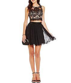As U Wish Two Tone Lace Top TwoPiece Dress #Dillards