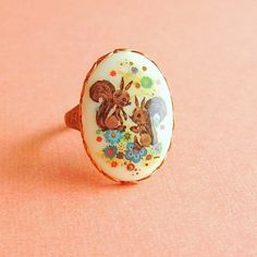 Cute Retro Squirrel Cameo Ring Vintage Upcycled by skeptis on Etsy