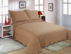 Royal Luxury 3pcs Fully Quilted Embroidery Quilts Bedspread Bed Coverlets Cover Set , king Solid Brown -- Continue with the details at the image link. #QuiltsSets